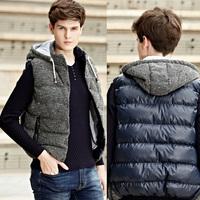 UK & US Fashion Men Vests Jackets Plus Size L-3XL Autumn & Winter Patchwork Design Urban Man Hooded Waistcoats Casual Outerwear