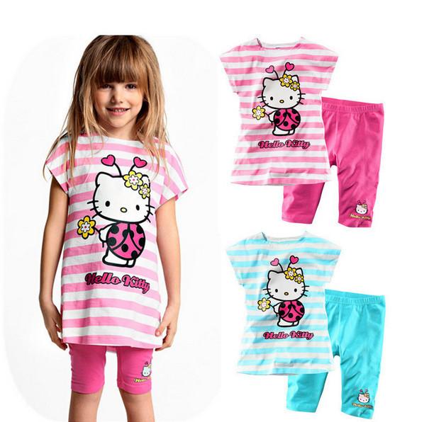 Girl's Clothing set kitty suits KT cartoon stripes Chinldren's kids clothes t shirt + pants 2pcs frees shipping(China (Mainland))