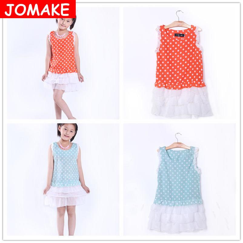 Best Offer Next 2015 Kids Brand Clothes Child Beach Dress Summer Baby Girl Sleeveless Solid Dot Lace Casual Princess Mini Dress(China (Mainland))