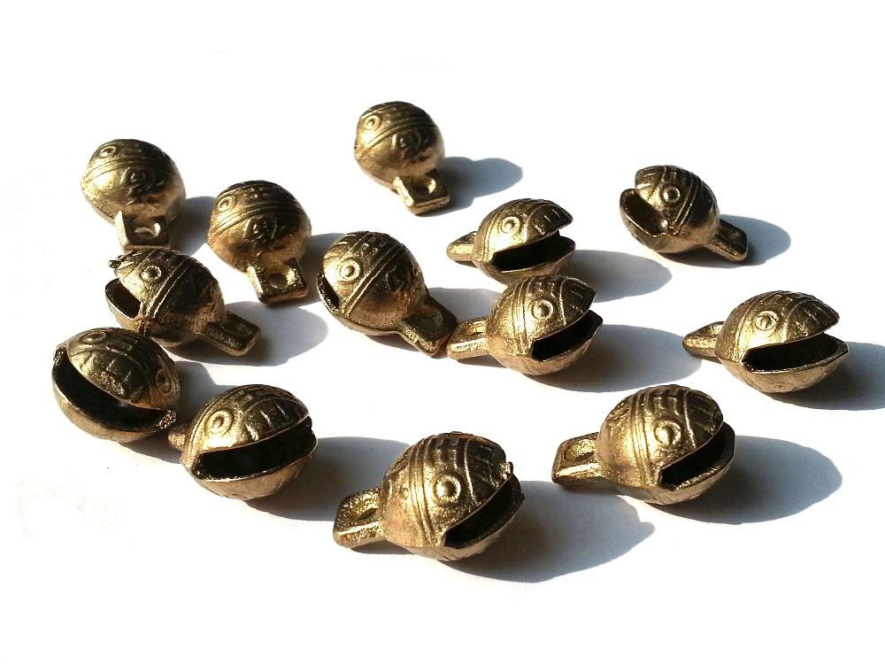 produto 100PCS  African Jingle / Vintage African Brass Bell Beads / Lost-Wax Filigree15x5mm w/ctH+2rings B2B raw  TIBETAN BRASS BELLS