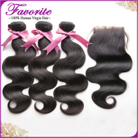 Grade 6A Brazilian Virgin 3 Bundles Weft Hair With Bleached Knots Free Part Lace Closure FREE SHIPPING Unprocessed Body WaveWeft