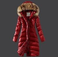 Winter Down Jackets 2014 High Quality Brand Women Warm Slim Large Fur Collar Goose Down Parkas Black Lady Long Down Coats lw8281