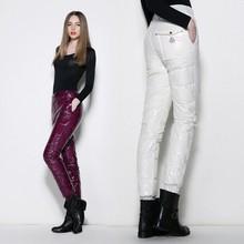 Winter Women' Thick Down Pants Fashion Glossy Waterproof Windproof Warm Pants High Quality Plus Size Pencil Full Length Pants(China (Mainland))