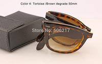 100% UV brand new in case men women fashion sunglass brand name Unisex original wayfarer folding sunglasses 4105 710/51 50mm