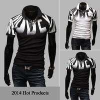 2014 new men short T-shirt tops size large casual cotton short sleeve t-shirt men tee brand size M-XXL D03