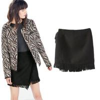 New Fashion 2015 Spring Women Stylish Black Knitting Tassel Short Skirt Casual Ladies Slim Mini Skirts saias PS0643