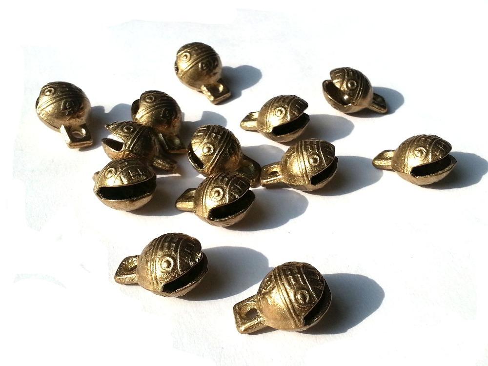 produto 100PCS  Tiny Dragon Round  Bead Craft Temple Herding Small Metal Ethnic 15x5mm w/ctH+2rings B2B raw  TIBETAN BRASS BELLS