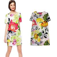 New Fashion 2015 Spring Women Sweet Floral Flower Print Short Sleeve Chiffon Dress Casual Ladies Slim Party Mini Dresses PS0645