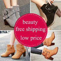 2014 HOT SALE new women's ankle winter boots fashion female shoes high heels boot for ladies size 35-39 genuine leather shoe 4