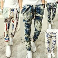 2014 special Offer men pants harem pants long style floral print cotton linen strip elastic waist Pants trousers men