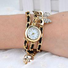 Women s Jewelry Bracelet Gifts Quartz Rhinestones Quartz Wrist Watches With Butterfly Pendant 6 Colors FMHM601