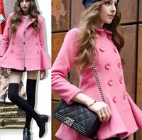 2014 European Grand Prix women's double-breasted wool coat winter new female retro pink coat flouncedxjh47