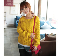New 2014 Free Shipping Fashion Short Design Slim Long Sleeve Hedging Women Sweater Fashion Knitted Sweaters Free Size