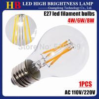 2014 new arrive Glass Housing E27 LED lamp LED filament bulb 2W 4W 6W 8W AC 110V 220V Warm white 360 degree LED Lighting