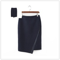 Free shipping 2014 new arrival girls high waist solid color wool leather-trimmed patchwork irregular slim skirt