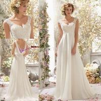 Free Shipping! 2015 Cheap vestido de novia A Line Romantic Beach Lace Chiffon Wedding Dresses Sleeveless Bridal Gowns With Train