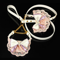 Fashion pet dog cat pink collar and white leash with lace bow tie bandana attached crystal Free Shipping