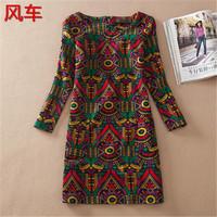 vestidos 2015 Winter Dress Vintage Style Women Dress long Sleeve Print flower casual dress plus size women clothing 20377