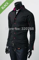 Cheap Shipping 2014 Spring men Fashion Casual slim fit long-sleeved tees men's dress shirts Leisure brand shirts