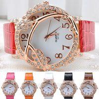 Women's Fashion Branch & Leaves Pattern Wristwatch PU Leather Diamante Quartz Wrist Watch metal women watches FYMHM567