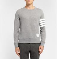 Japan fashion Thom solid ribbon stripe solid color brown men's 100% cotton pullover sweatshirt