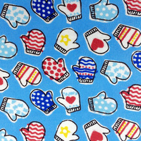 Colorful Gloves Printed 100% Cotton Flannel Fabric for Children Sleepwear Baby Blankets Garment, Brushed Cloth Cartoon Tissues