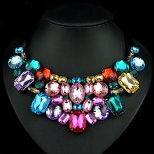 New Fashion Brand luxury  Crystal Necklace Women Rhinestone Pendant Necklace Ribbon Vintage Choker Bib Collar Staement Necklace