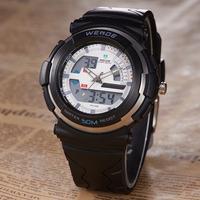 WEIDE Brand Analog-Digital Rubber Band White Dial Alarm Date Men Outdoor Climbing Sports Wrist Quartz Watches Free Shipping