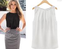 sexy sleeveless chiffon shirt casual blouse tops  women chiffon blouse women pintuck neckline shirts LJ118XGJ