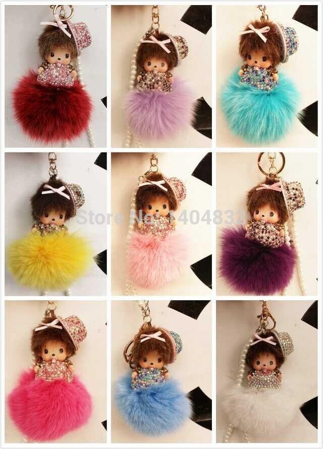 Handmade diamante cute MONCHHICHI key chain with hat 9cm fox fur keychains fashion bag accessories car key ring car ornament(China (Mainland))