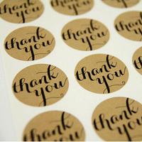 Wholesale,(1 Lot =600 Pcs) 3.8 CM DIY Scrapbooking Kraft Paper Thank You Labels Envelopes Stickers handmade Seals Sticker