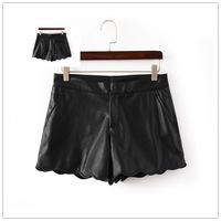 Free shipping 2014 Winter women solid color wavy quality PU leather casual shorts