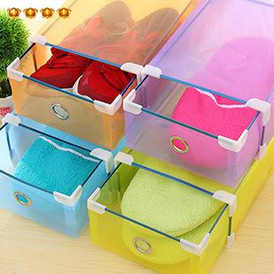 Shoebox creative translucent drawer plastic shoebox hemming thick plastic household goods storage box hot sale folding shoebox(China (Mainland))