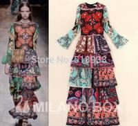 New 2014 autumn winter women runway vintage fashion patterns print  bohemian maxi dress cascading ruffles long sleeve dresses