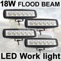 4X18W Fog light 6 inch 18W LED Work Light Bar Flood Driving Lamp Off Road 4WD
