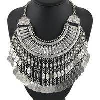 Fashion Designer Bohemian Handmade Floral Ancient Silver Coin Tassel Necklace & Pendants Statement Vintage Necklace NK835