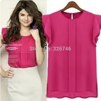 Free shipping  new  candy-colored chiffon shirt women's o-neck chiffon shirt sleeve 3 colors pink blue green