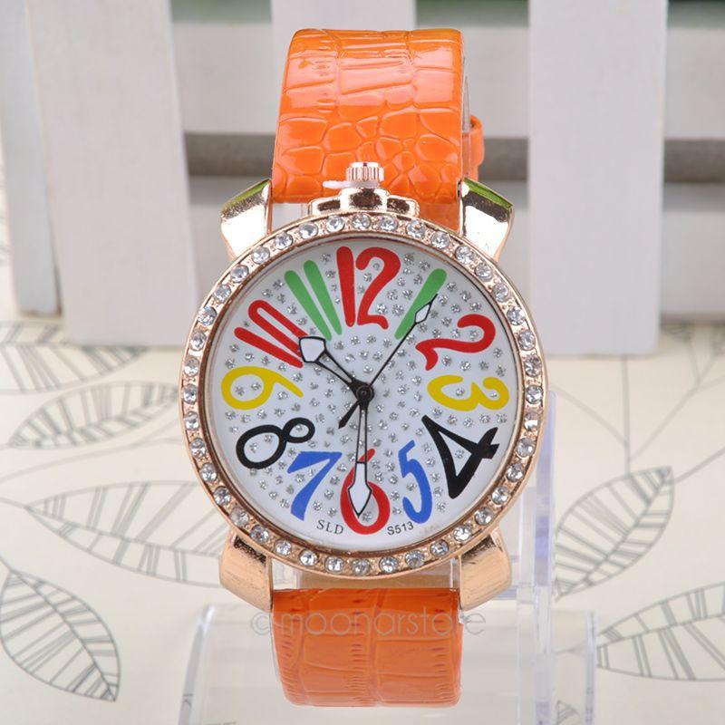 Newest Unique Designed Big Dial Quartz 7 Colors Large Arabic Numerals Ladies Women Dress Watches Wristwatch JL*MPJ570(China (Mainland))