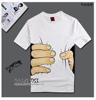 Hot sale,2014 new men's t shirt ,Fashion round collar, 3 d big hand printing, sports men t-shirts short sleeve