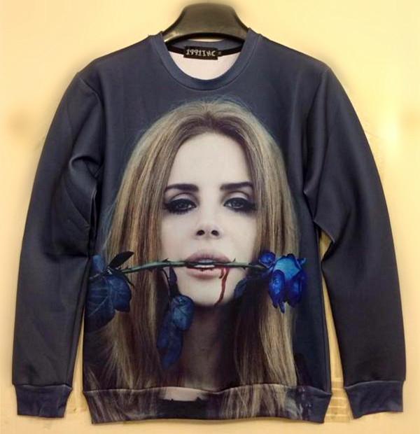 Лана дель Рэй выросла печати 3d femininas и женщин осень Толстовки характер пуловер звезда любовь Одежда женская