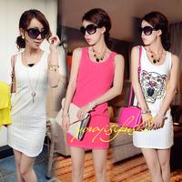 2014 fashion new fashion solid color / tiger wild vest dress Slim hip summer sexy dress women vestidos cotton clothes