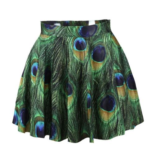 Venda quente 2014 chegam novas moda pavão dos desenhos animados imprimir mulheres saia curta saia verde ocasional saia plissada(China (Mainland))