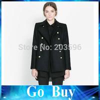 Free shipping YF0708 United States women's autumn and winter double metal button coat black woolen long women windbreaker jacket