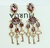 Retro Baroque palace purple crystal drop earrings india crystal key chandelier earrings woman clothing accessories
