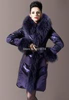 Royal 2014 For Cat Fashion High Quality Large Fur Collar Slim Medium-Long Thickening Lace Female Down Coat Purple