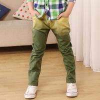 2014 New fashion Boy pants boys cotton trousers big virgin Pure Cotton Flax Korean children jeans factory outlets big size 6-15