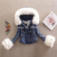 Free shipping 2015 Fashion plus lamb wool jeans jacket wool collar denim jacket winter coat slim sweaters patchwork coats women