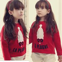 Hot sale 2014 New Fashion girls PATTERN top t-shirt girls cotton autumn long sleeve T-shirt  for kids 1 pc free shipping