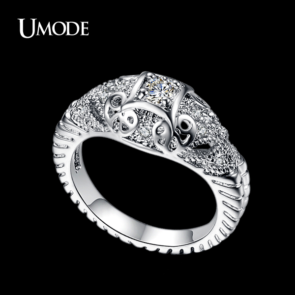 UMODE 0.25ct AAA Grade Round Swiss CZ Diamond Two Elephant Fine Carve Rings For Women Christmas Gift 2015 UR0137(China (Mainland))