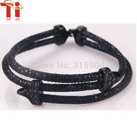 Exclusive design black leather bracelet  genuine galuchat  stingray skin bangles
